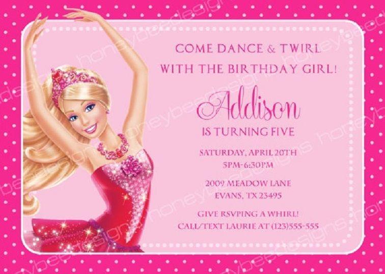 Barbie Birthday Invitation Card Free Printable Barbie Invitations Barbie Birthday Invitations Barbie Birthday
