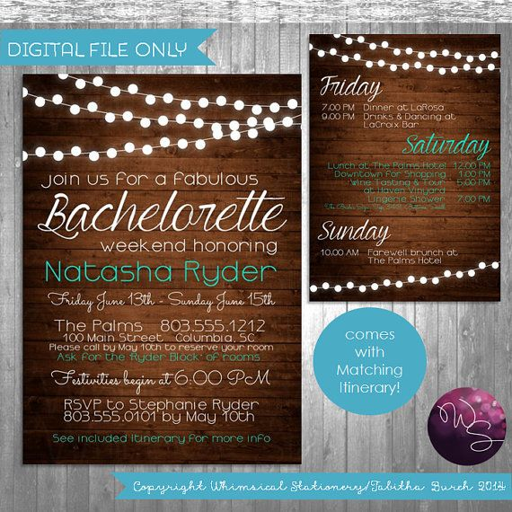 bachelorette party weekend invitation itinerary wood lights
