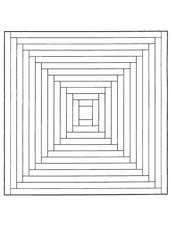 Coloriage Mandala Graphique En Carr Pour Une Illusion DOptique