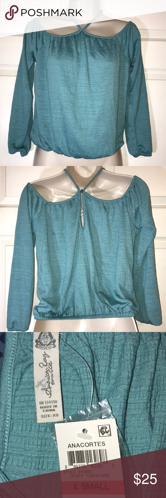 3f75a40d9361bb American Rag Dusty Turquoise cold shoulder top Top is NWT. There is a  letter written
