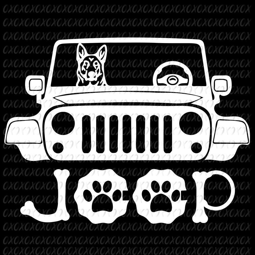 German Shepherd Dog Riding on Jeep SVG Files For