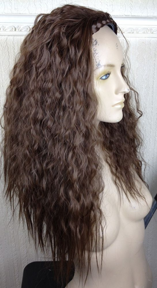 natural brown wavy curly frizzy puffy 3/4 half head long hair wig fancy dress
