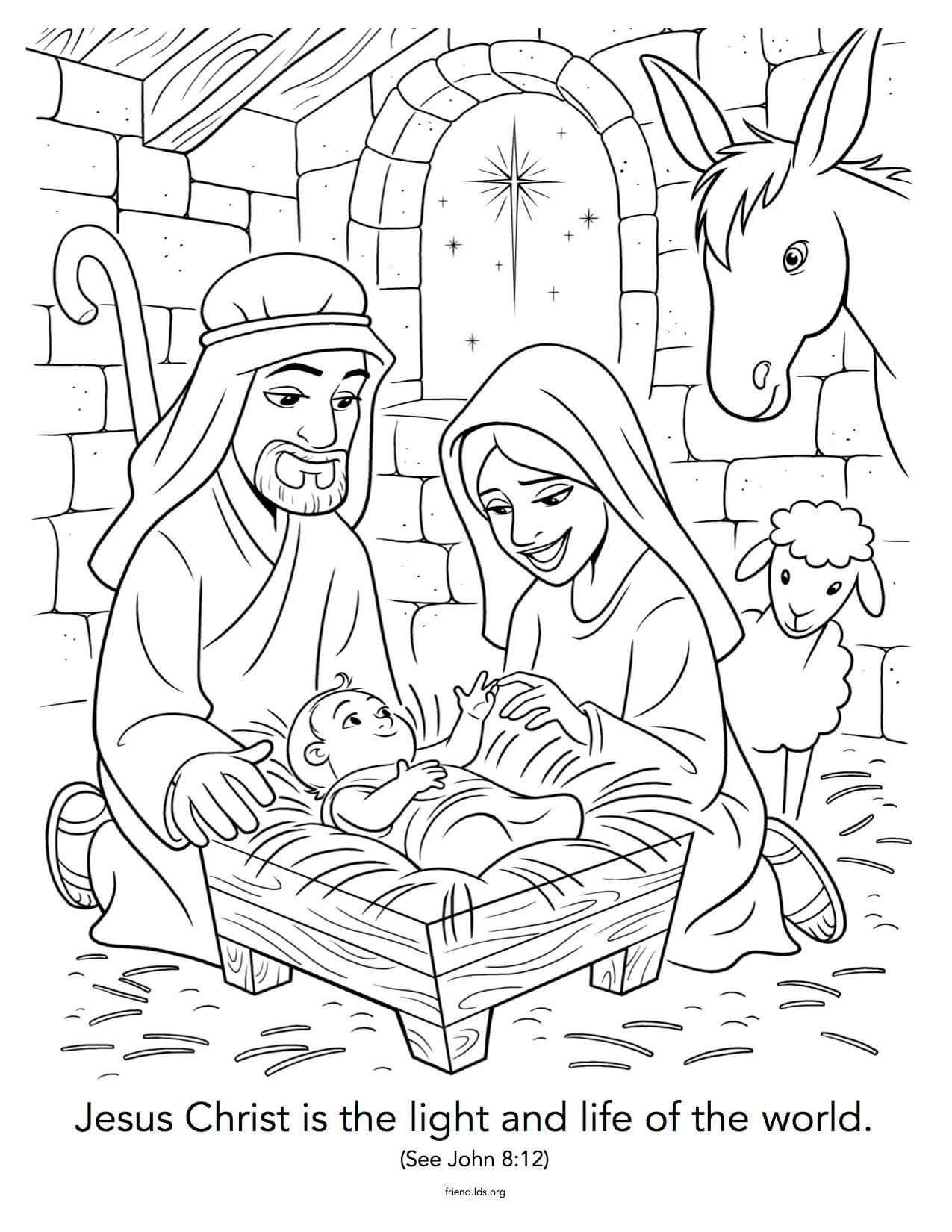 Christmas Coloring Pages Jesus  Nativity coloring pages, Nativity