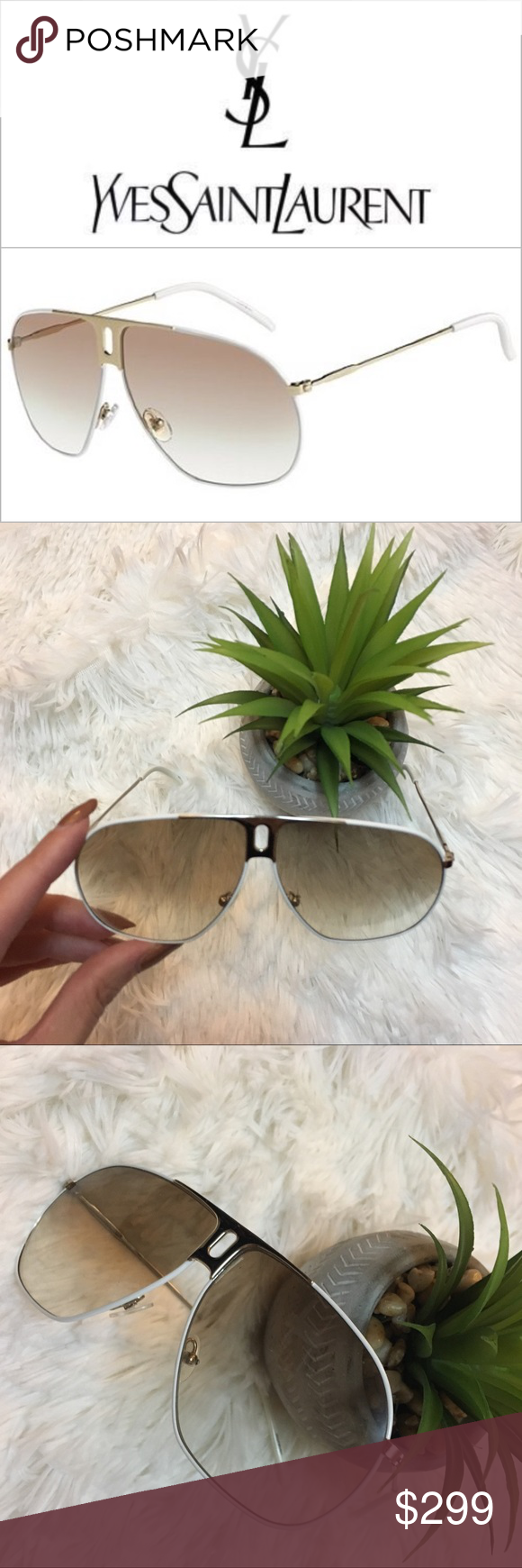 440ac50e77c20 YSL  Oversized Aviator Sunglasses. 🚁 These classic Yves Saint Laurent  sunglasses come in a stylish Gold White