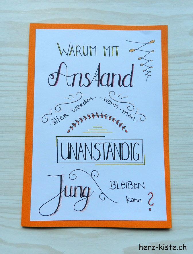 Geburtstagskarte Gelettert Handlettering Geburtstag 70