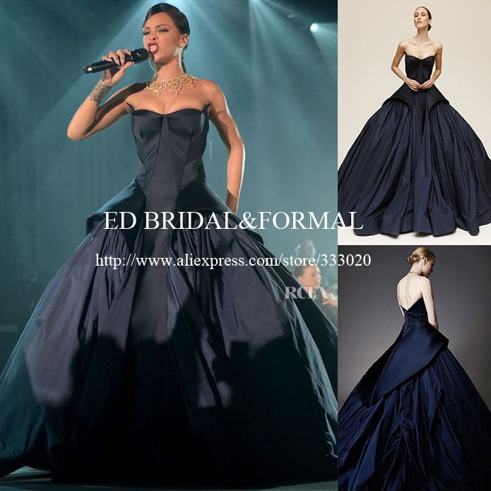 Rihanna Navy Blue Ball Gown Dress Spring 2015 Haute Couture Taffeta ...