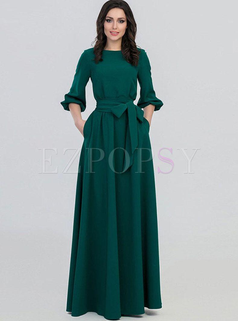 Crew Neck Party Maxi Dress With Belt Maxi Dress Yellow Long Sleeve Dress Maxi Dress Green [ 1066 x 789 Pixel ]