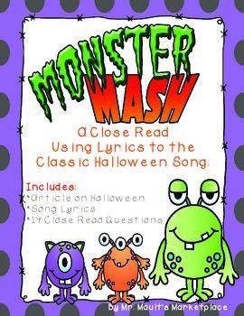 Monster Mash: Halloween Close Reading Using Song Lyrics w