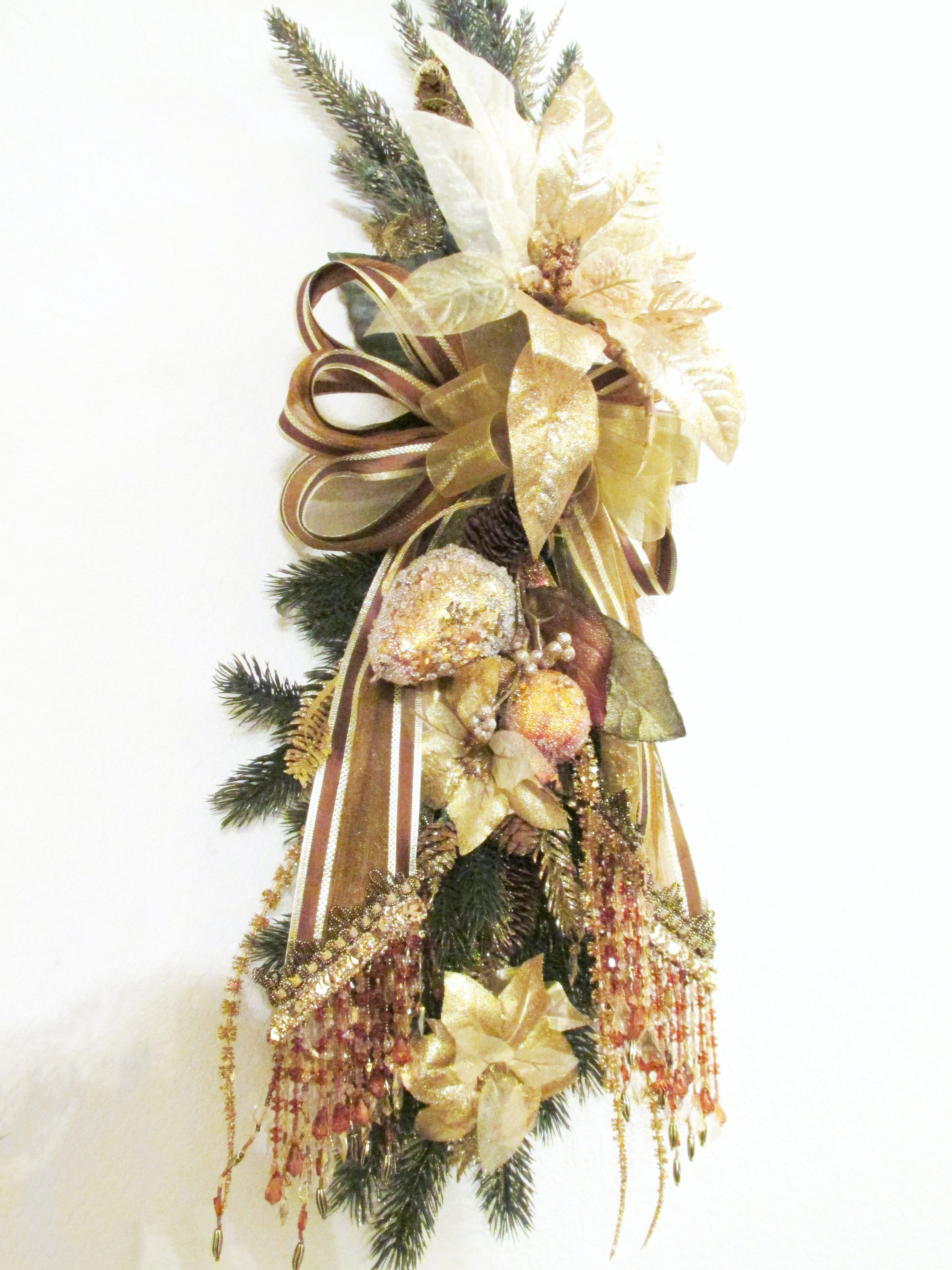 Gold Brown Rust Elegant Victorian Beaded Christmas Holiday Pine And