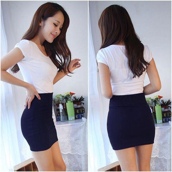 Navy Women's Sexy Mini Skirt Slim Seamless Stretch Tight Short ...