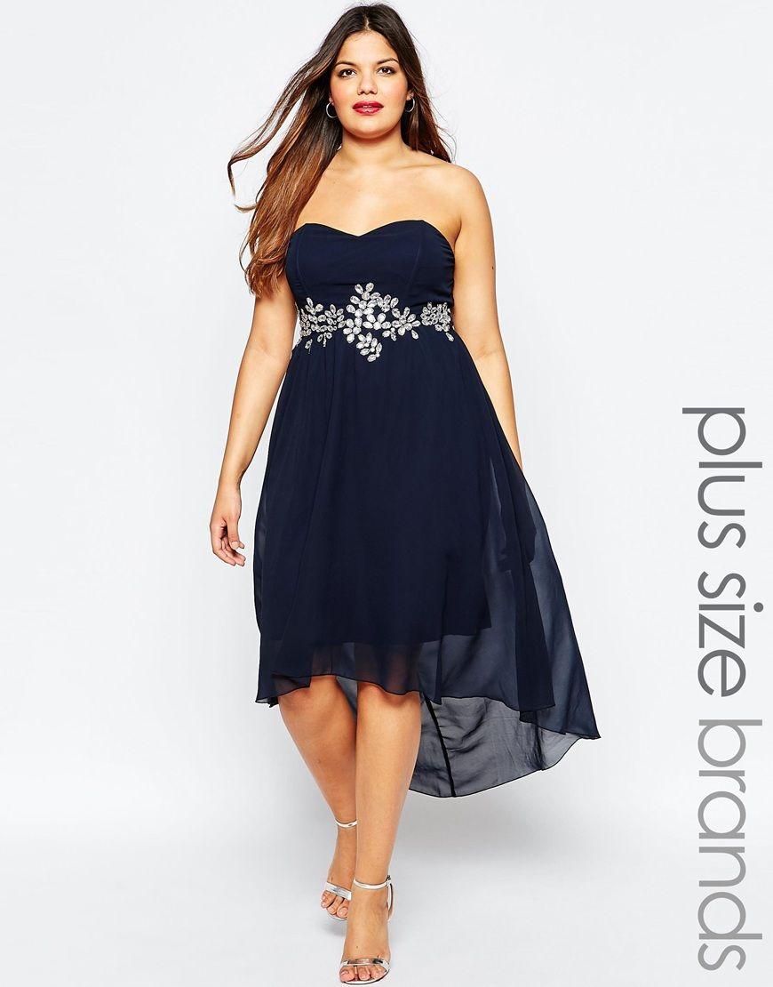 45e69772d0646 AX Paris Plus Dip Hem Dress With Embellished Waistline