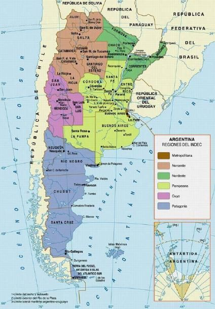 HttpwwwzonucomimapaamericassmallMapaRegionesArgentina - Argentina map small