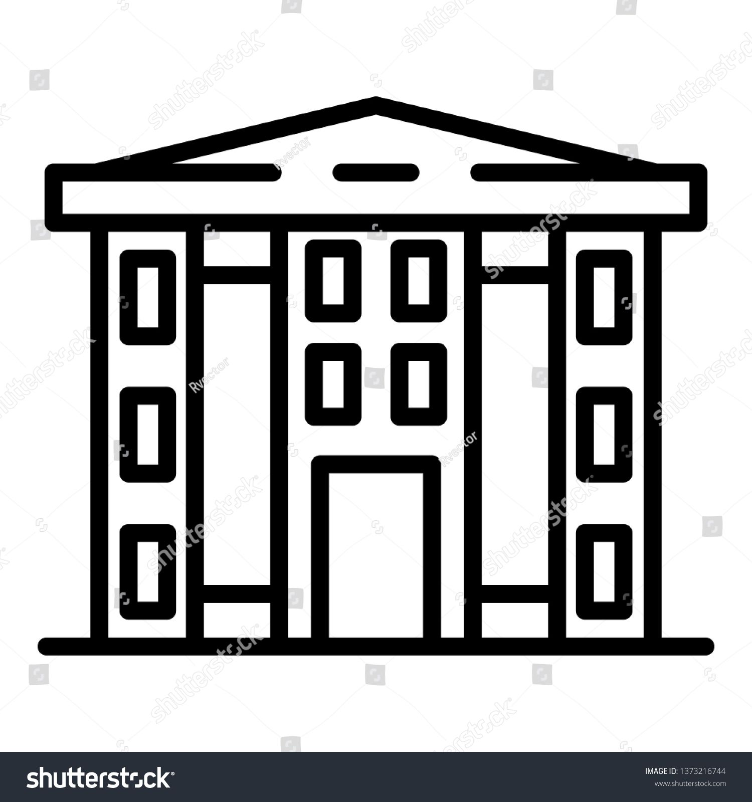 Finance Courthouse Icon Outline Finance Courthouse Vector Icon