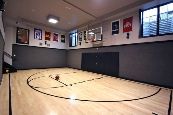 Decorating a home gym in contemporary style basketball