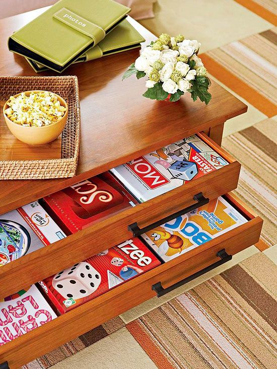 14 Ways To Amp Up Living Room Storage With Furniture Board Game