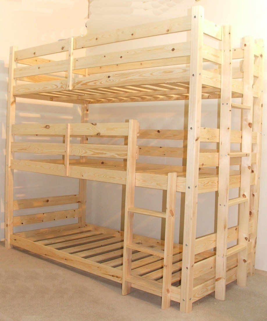 3 Tier Triple Bunkbed With Three Memory Foam Mattresses 3ft