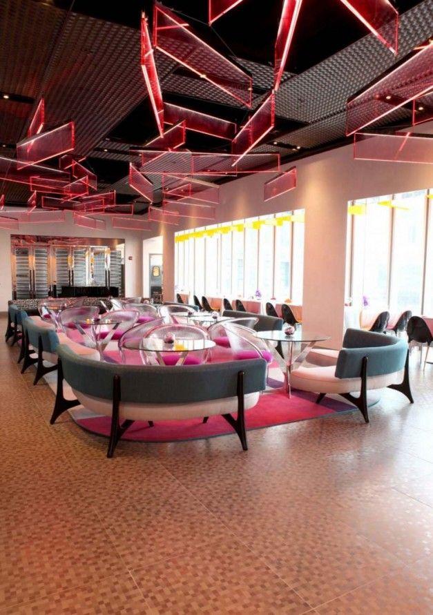 Colorful And Futuristic Restaurant Interior Decorating Ideas | Cafe ...