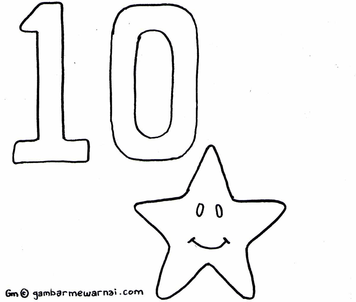 Mewarnai Angka 10 Dengan Gambar Warna Gambar Huruf