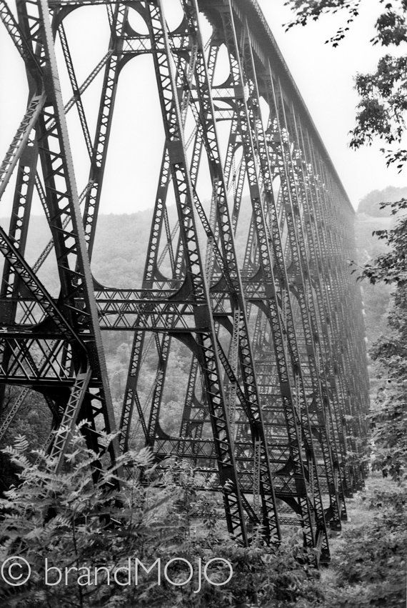 Steel industrial decor linear perspective bridge tallest railroad blown away tornado Without words, The Kinzua Viaduct fine art photograph. $35.00, via Etsy.