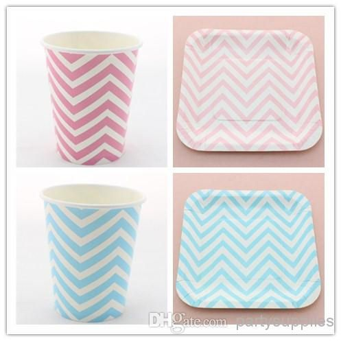 Chevron paper cup and paper plate  sc 1 st  Pinterest & Pink\u0026Blue Chevron Paper Plate Paper Cups Paper Straws Paper Napkin ...