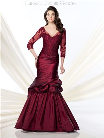 Stunning Lace and Taffeta Mermaid Gown with Illusion V-Neckline Over Sweetheart Interior, Illusion Lace 3/4 Length Sleeves, Illusion Lace Fitted Bodice with Dropped Waist, Ruched Taffeta Past Hips into Pick-ups and Flared Mermaid Skirt, Illusion Lace Back with Hidden Zipper Closure. #eveninggown #ballgown #mermaidgown #lace #taffeta #specialoccasion #homecoming #pageantdress #motherofthebride #formalgown #customdress #customformalgown #stunning #mermaiddress