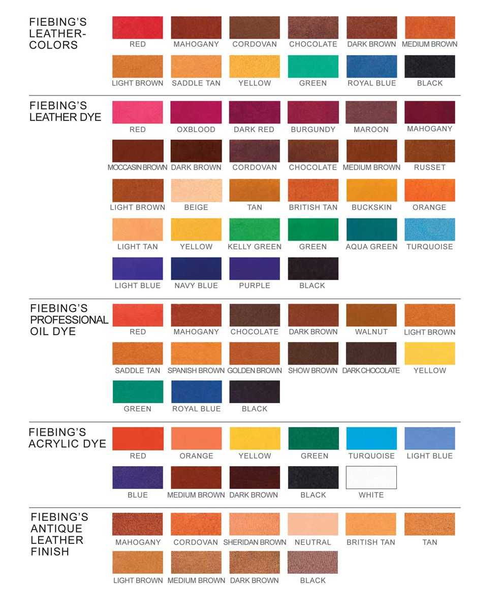 Fiebing Leather Dye Color Chart Leather Dye Leather Diy Leather Restoration