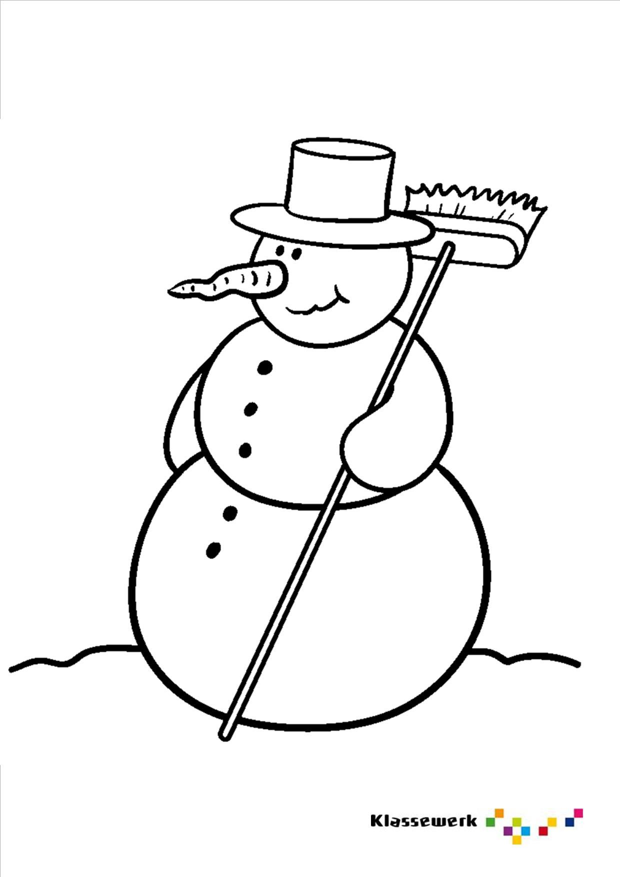 kleurplaat sneeuwpop kleurplaten sneeuwpop en winter