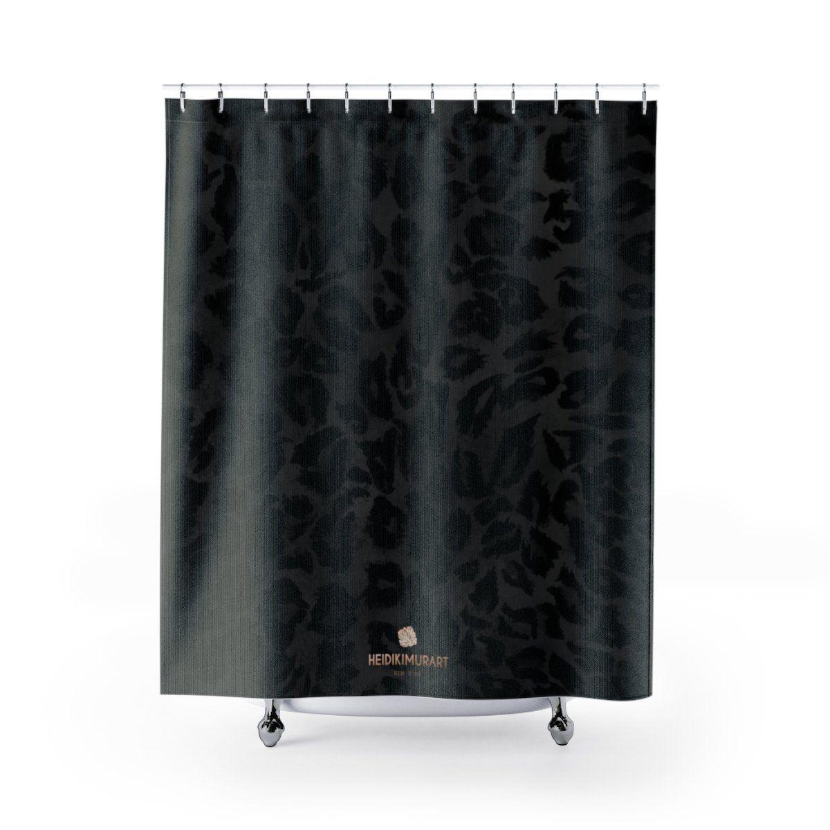 Black Leopard Animal Print Polyester Large 100 Shower Curtains