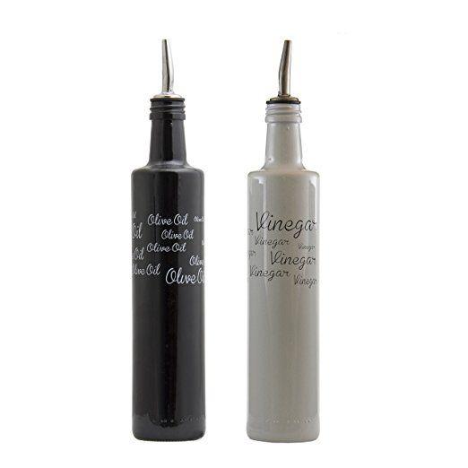 Consol decorado aceite y vinagre Set Botella - Aceite de Oliva Dispensador con corcho extraíble - Caños de acero inoxidable para facilitar el transporte - de cristal de alta calidad y libre de BPA tapón de goma (8 oz, Blanco y Negro)