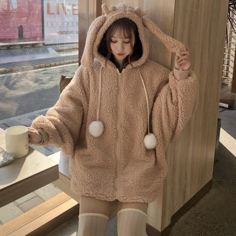 Kawaii Bunny Ears Hoodie Coat - Plush Hooded with Rabbit Ears