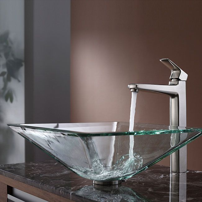 Kraus Square Glass Vessel Sink in Clear with Virtus Faucet in ...
