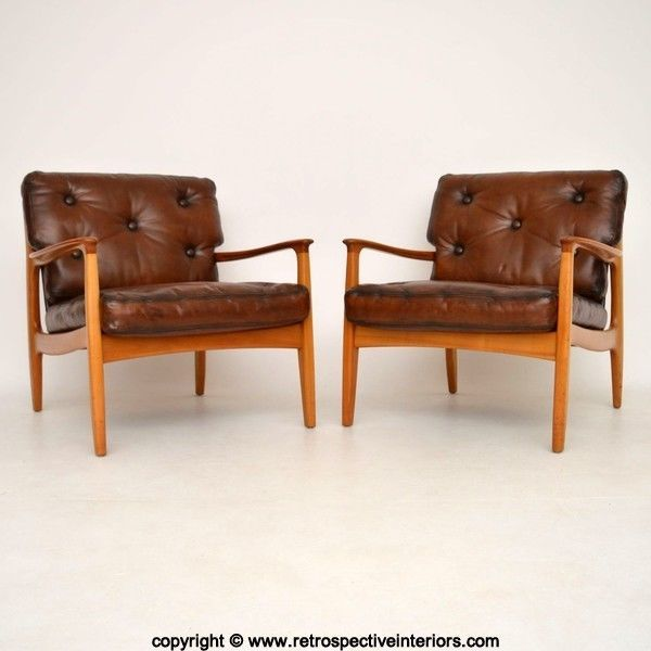 Pair Of Danish Retro Leather Armchairs Vintage 1960 S In Antiques