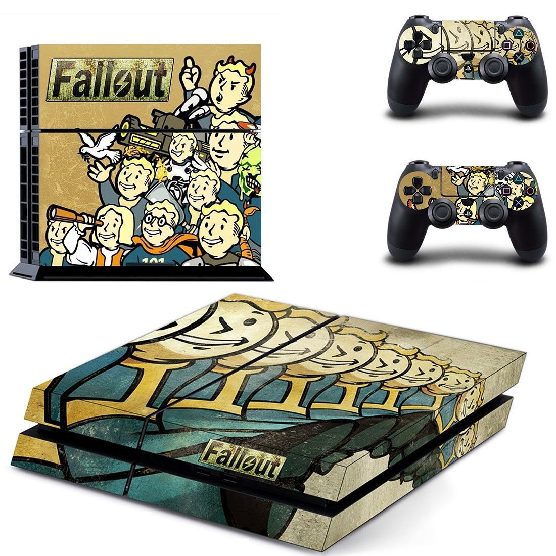 fallout vault boy ps4 skin decal for console and controllers