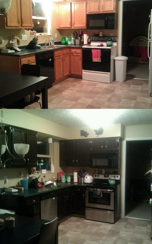 Before and after of cabinets after staining them with Java ...