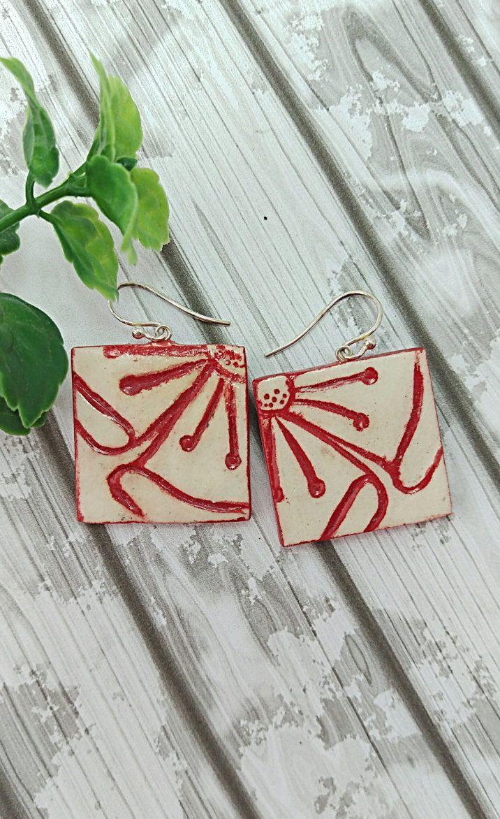 square earrings geometric earrings sterling silver hooks for