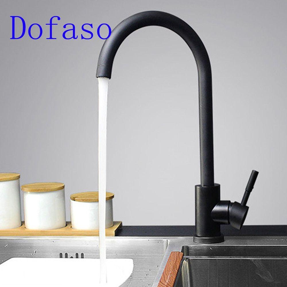 dofaso black brass kitchen faucet 360 degree swivel single handle rh in pinterest com
