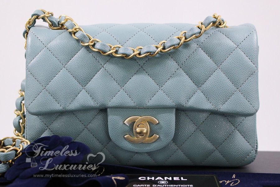 6768c327bac6 CHANEL 18C LIGHT BLUE IRIDESCENT CAVIAR RECTANGLE MINI FLAP BAG GHW 2.55 # CHANEL #ShoulderBagCrossbody