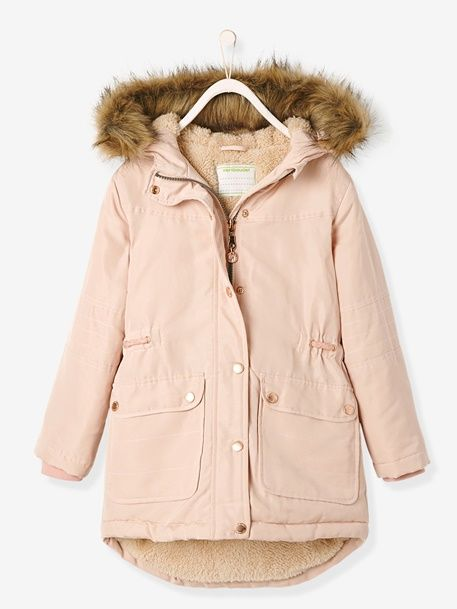 d0bff0a22eed Girls  Parka with Plush Lining - pink light solid