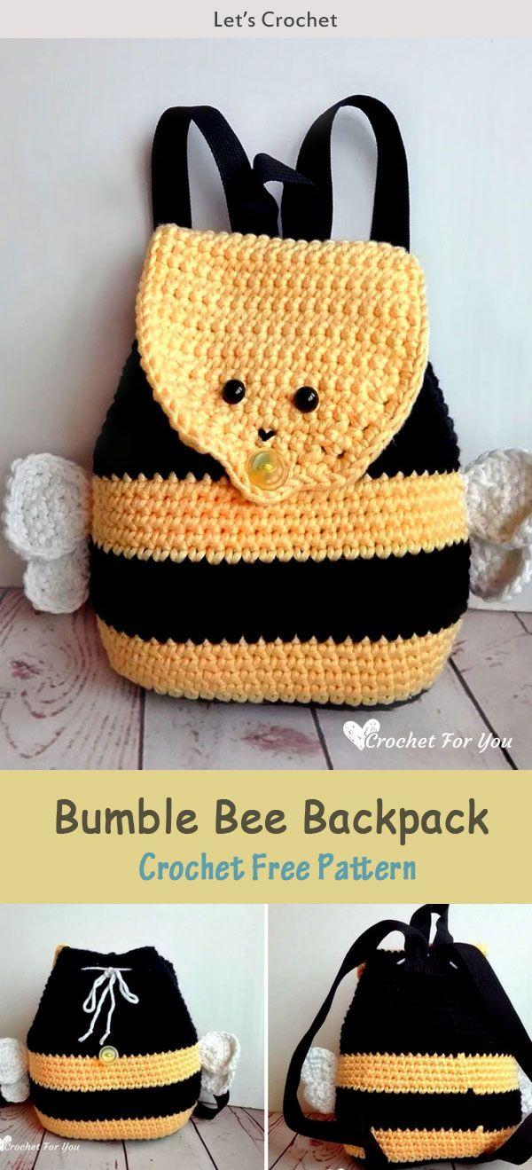 Bumble Bee Backpack Crochet Free Pattern | Häkeln, Bienen und ...
