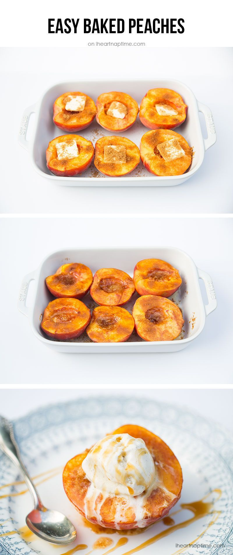 Easy Baked Peaches with Cinnamon Sugar Topping These super moist and tender peach upside down mini cakes are bursting with peaches in every bite. Easy to make, this recipe is a keeper for that indulgent peach season! #brownsugar