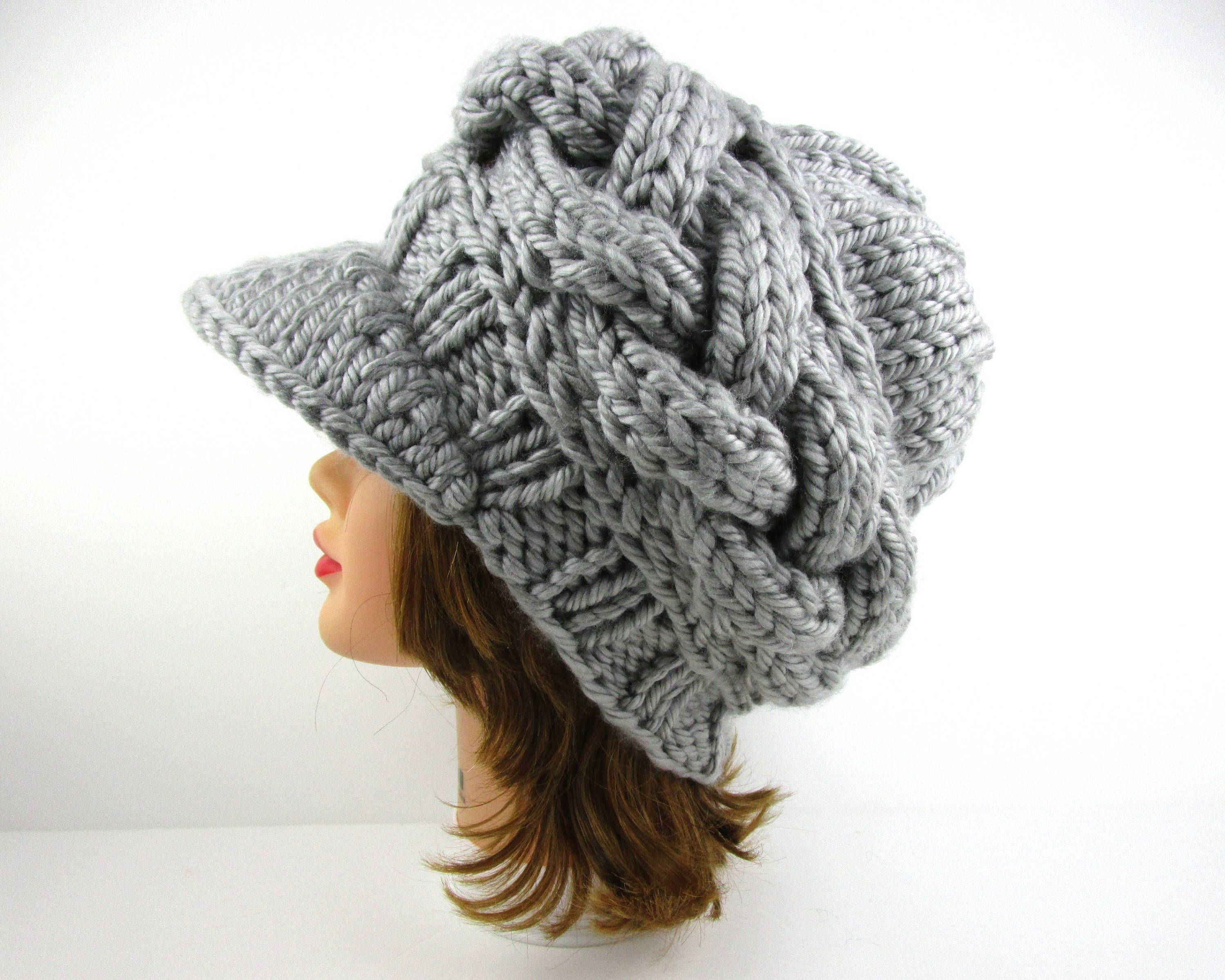 cb9defc4a43 Gray Newsboy Cap - Women s Hat With Visor - Brimmed Beanie - Cable Knit Cap  - Chunky Visor Hat - Knit Accessories by BettyMarieJones on Etsy