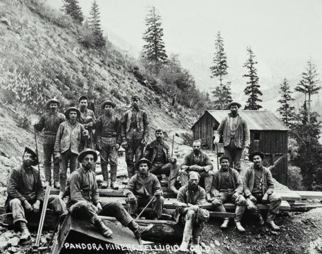 Usa Colorado Telluride Miners Outside Of A Gold Mine Telluride Telluride Colorado Colorado