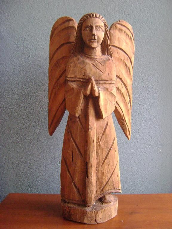 Hand Carved Vintage Angel Figure Mexican Sculpture Angels Hearts
