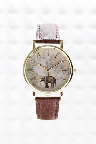Elephant map leather watch urban outfitters urban and leather elephant map leather watch sciox Choice Image