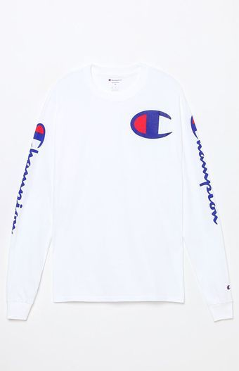 74d696aa Hit the streets in an iconic graphic tee provided by Champion. The Script Long  Sleeve T-Shirt has a classic crew neck, long sleeves, and bold Champion ...