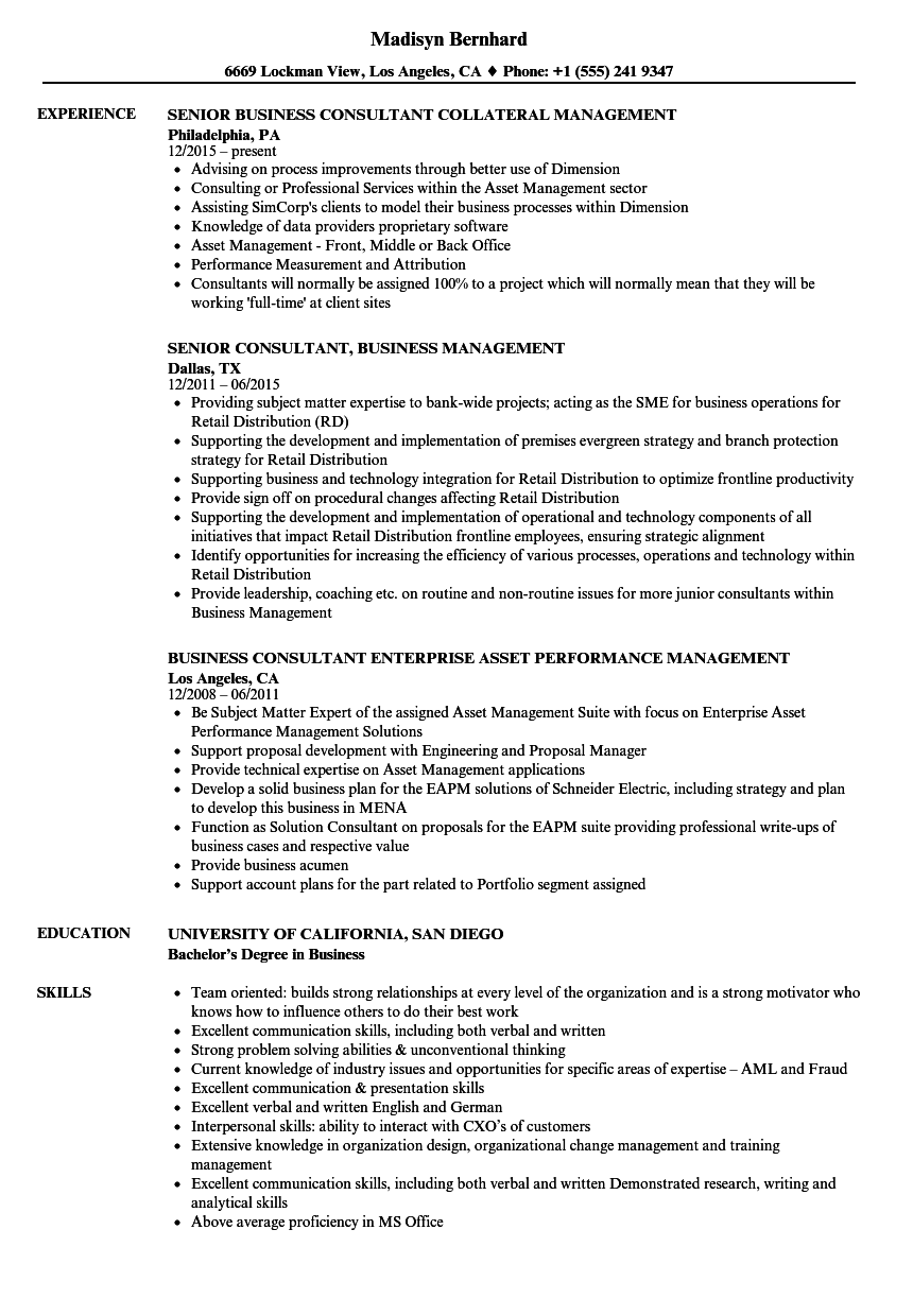 Business Management Resume Templates in 2020 Resume