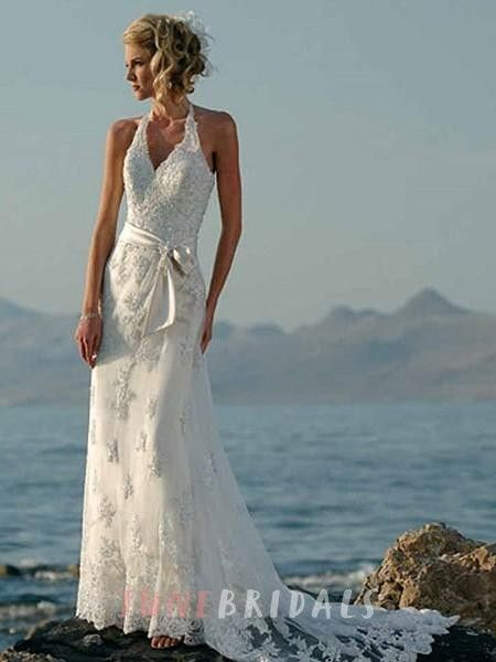 Sheath/Column Halter Embroidery Organza Floor-length Wedding Dress ...