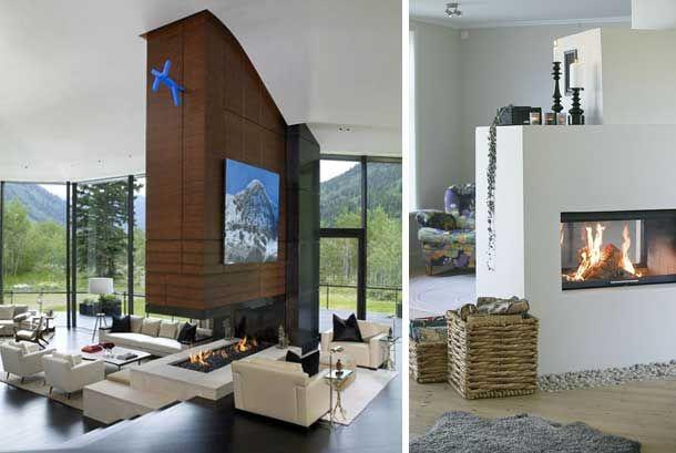 chimeneas-modernas-como-separador-de-espacios Şömine Pinterest - chimeneas modernas