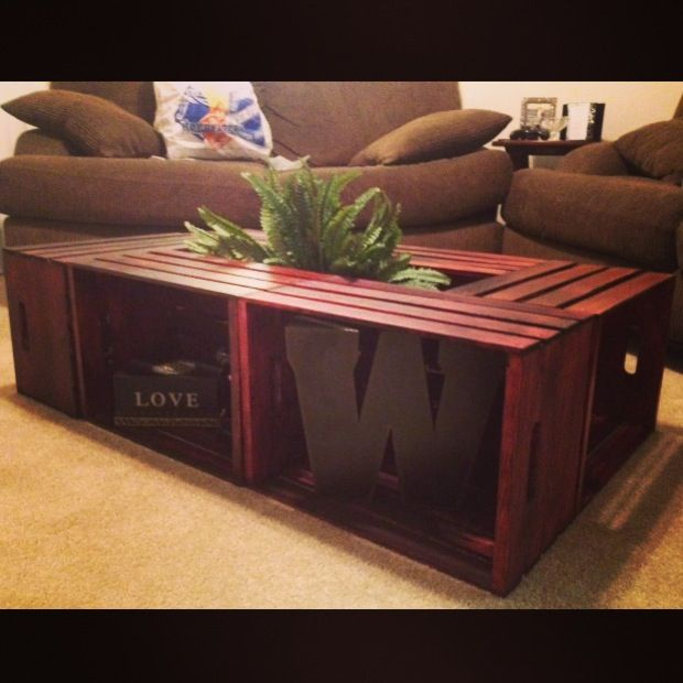 Homemade coffee table made with wooden crates add legs to for How to make a wooden crate coffee table