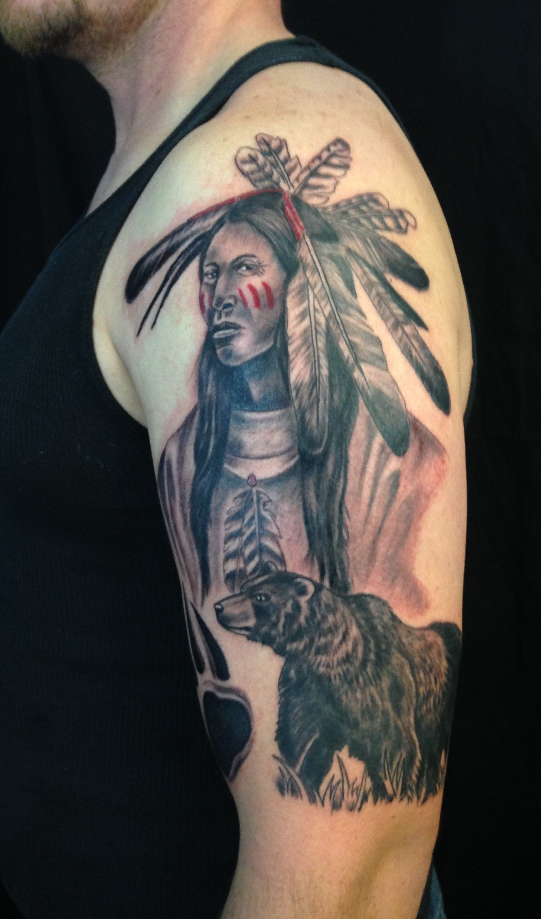 Native American Indian Bear Tattoo By Diane Lange Native Indian Tattoos Indian Tattoo American Indian Tattoos